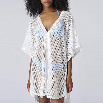 Новый лето 2015 сексуальная женщин свободного покроя купальный костюм вязать вязания крючком полости бикини купальники глубокий V прикрыть пляж платье размер бесплатная