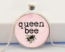 Hot glass dome jewelry Queen Bee Necklace Honey Bee Bumblebee Insect Light Pink Art Pendant Necklace
