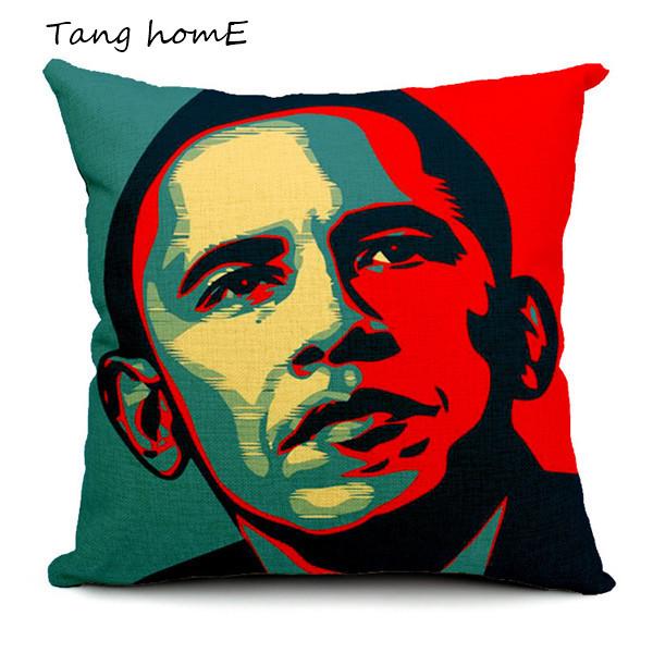 18x18 President Obama Linen Throw Pillow Case Sofa