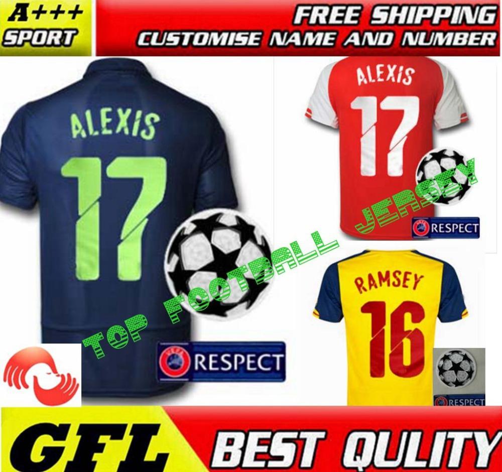 Alexis Jersey 2015 PODOLSKI ROSICKY WALCOTT GIROUD ozil RAMSEY camisetas de futbol 14 15 Home Red amarillo tercer camisa azul(China (Mainland))