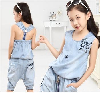 Новый 2015 дети девочки одежды комплект письмо о-образным вырезом джинсы Рукавss ...
