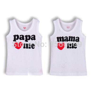 Розничные я люблю папа мама рукавов футболки девочек мальчиков детей одежды младенца на лето t рубашка