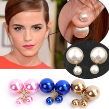 New Fashion Design 1 Pair of Double Sided Faux Pearl MISE en Tribal Front Back High Low Bubble Beads Cuff Stud Earrings 6 Colors(China (Mainland))