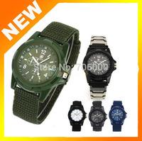 New Solider Military Army Men's Sport Style Canvas Belt Luminous Quartz Wrist Watch 4 Colors
