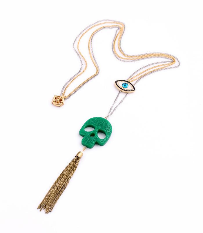 Long Chain Green Skull Tassel Crystal Eye Pendants Novelty Necklace Women Designer Jewlery Factory Wholesale