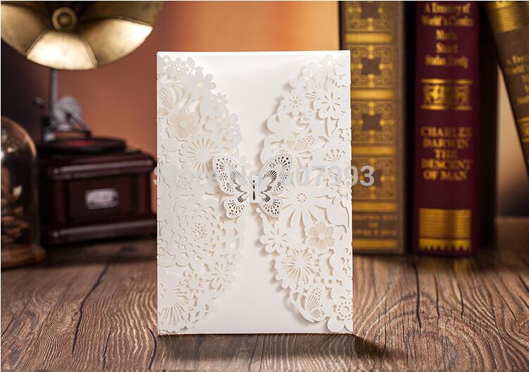 Linda borboleta laser cut do convite para o casamento celebração da festa de natal aniversário 100 jogos/lote expresso grátis frete(China (Mainland))