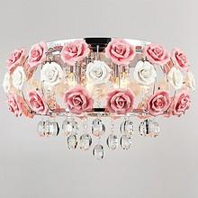 Idyllic Pink Flower Hanging Modern LED Crystal Pendant Light Lamp For Living Room Lustres De Cristal