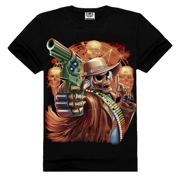 Free shipping 2015 new Rock design short sleeve black color Skull Printing T Shirts(China (Mainland))