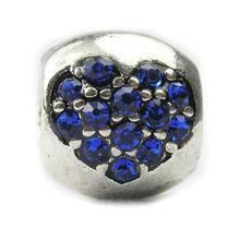 Free Shipping Jewelry 925 Silver Heart Shape Bead Charm European Crystal Silver Bead Fit panDORA Bracelets