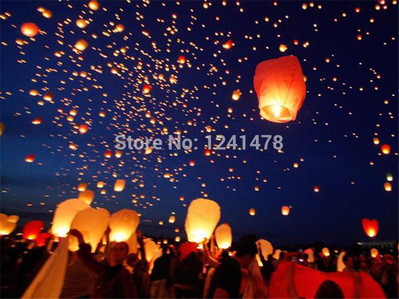 Hot sale 50pcs/pack Eco-friendly diamond shape sky lantern/Wish lantern with metal free offer mixed colors 100%biodegradable(China (Mainland))
