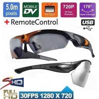 Full HD 720P Sport Action Sunglasses dvr camera 170 degree Wide- Angel Sunglass camera Camcorder Video Recorder+remote control