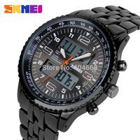 SKMEI Fashion Black Stainless Full Steel Strap Relogio Male Clock Men Wristwatch Quartz Sport Watch Waterproof Montre Homme