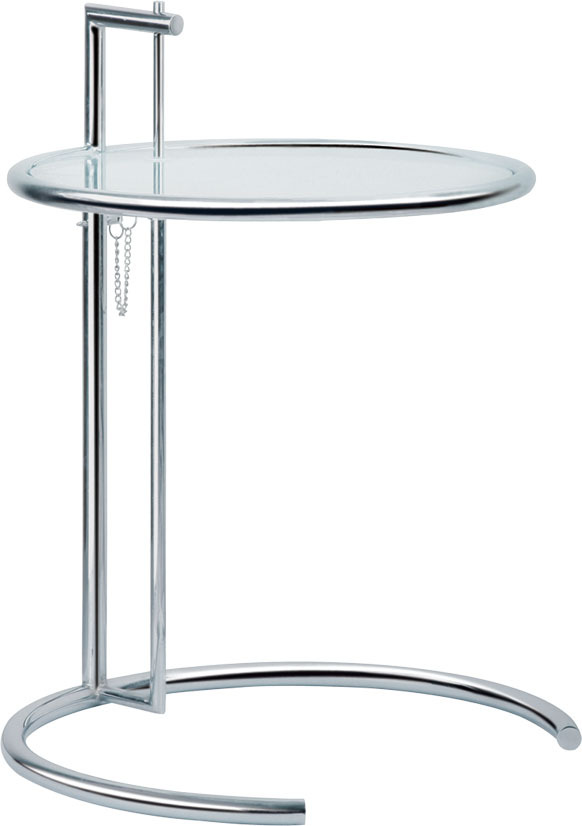 3 pieces/lot tempered glass top chrome steel frame adjustable Eileen Gray tea table coffee table(China (Mainland))