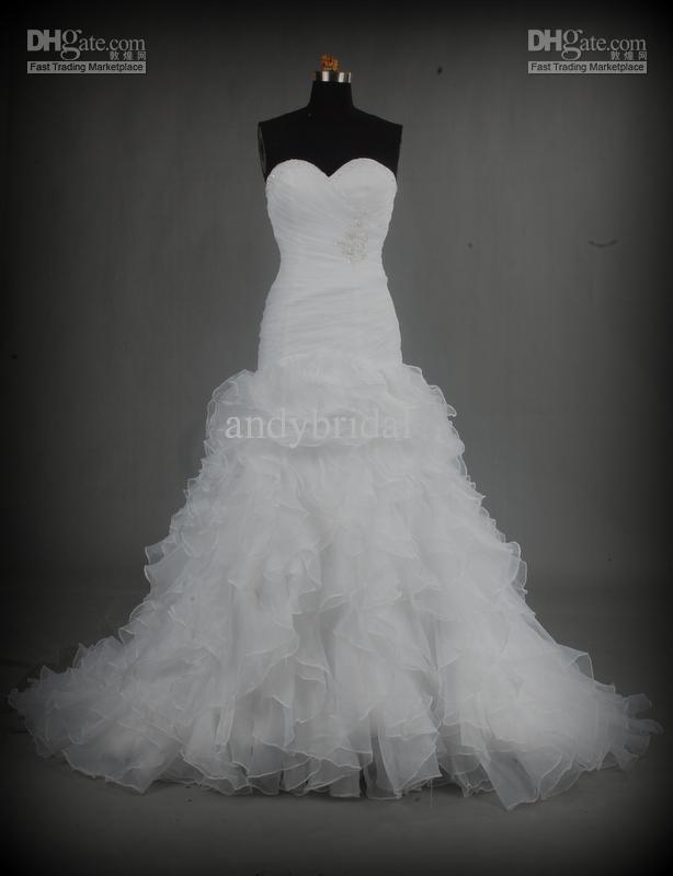 Nova Backless personalizado Sexy querida Strapless belamente Organza Mermaid vestido de noiva vestido de noiva(China (Mainland))