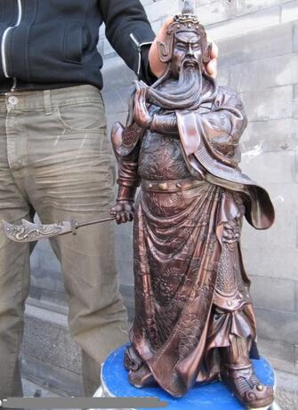 MISS sta.01563 25 Chinese Huge Red Bronze Copper 9 Dragons Guan Gong Guan Yu warrior Statue(China (Mainland))