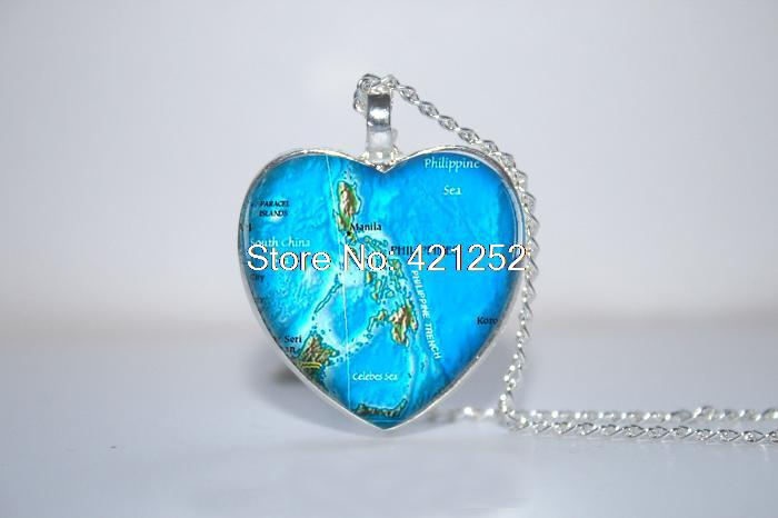 Philippines Map Pendant, Philippines Necklace, Philippines Heart Necklace Glass Photo Cabochon Necklace(China (Mainland))
