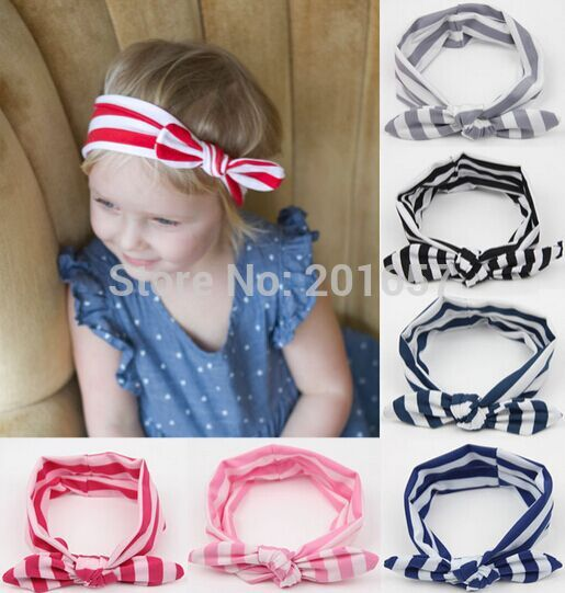 Wholesale and Retail cotton striped baby Elastic hairband headband hair accessory party accessory for headsize 40-60cm(China (Mainland))
