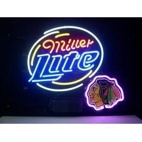 "NEON NHL MILLER LITE CHICAGO BLACKHAWK SIGN HANDICRAFT REAL GLASS TUBE BEER BAR LIGHT GAME ROOM SHOP 20x15""(China (Mainland))"