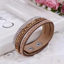 Multilayer Leather Bracelet Crystal Wrap Braclets For Women Long Brand Bracelets& Bangles Braclet Fashion Jewelry Wholesale(China (Mainland))