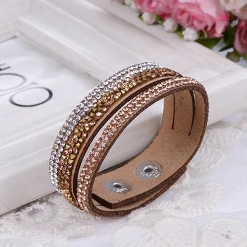 Многослойные кожа браслет кристалл накидка Braclets для женщины длинная марка браслеты ...