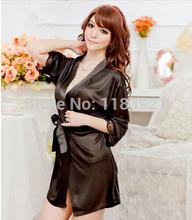 2015 Womens silk robe set satin bathrobe dressing gowns sexy housecoat +G-String+Waistband.(China (Mainland))