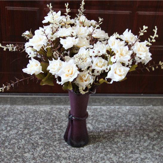 5 stems / lot rosa da flor do casamento decoração de flor Artificial decoração exposição de flores branco vermelho(China (Mainland))