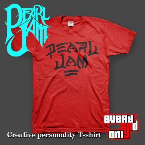 Pearl jam band logo short-sleeve T-shirt red grunge rock hard(China (Mainland))