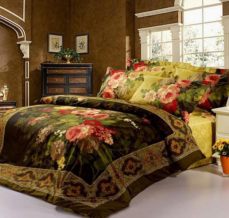 Luxo grátis frete 3d conjunto de cama king size 100% algodão set decoração tipo de flor roupa de cama 3d paypal(China (Mainland))