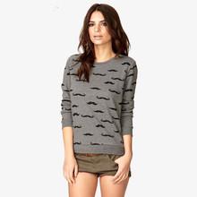9-16Year 2014 Korean Fashion New Spring bottoming shirt casual Mustache print Pullover hoodies for winter girls Sweatshirts(China (Mainland))