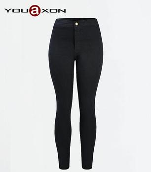 1894 YouAxon стиль звезд женщин черный ультра натяжные тощие высокой талией джинсы ...