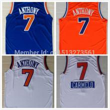 Дешевые #7 кармело энтони джерси главная синий оранжевый белый рождество баскетбол кофта новый материал ред 30 спортивная кофта рубашка