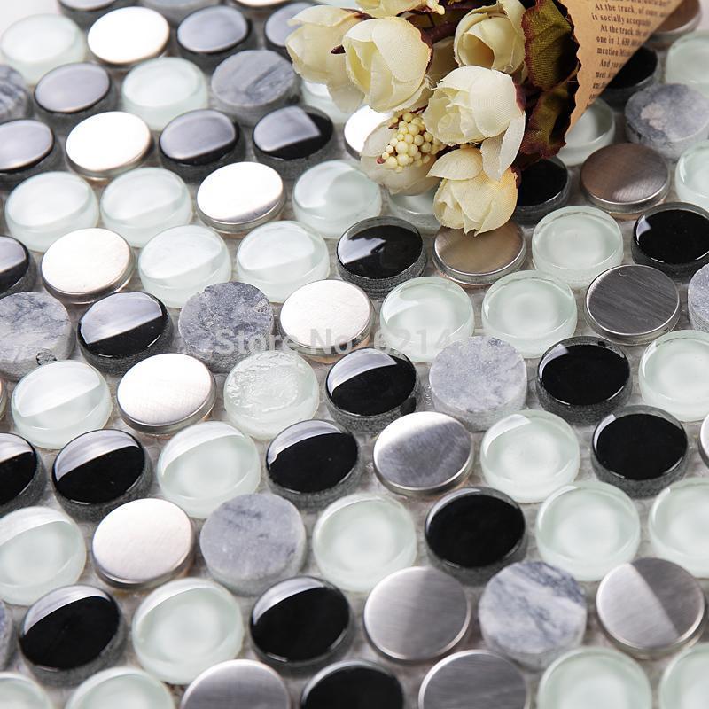 Rodada cristal pedra mosaicos de aço inoxidável HMGM1137A para apoio de malha banheiro piso parede da cozinha azulejo backsplash(China (Mainland))