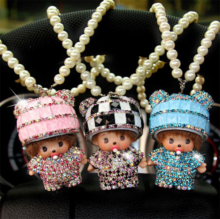 High Grade Diamond Rabbit Hair Meng Kiki Car Accessories Supplies Automotive Interiors Car Hanging Jewelry Wholesale Manufacture(China (Mainland))