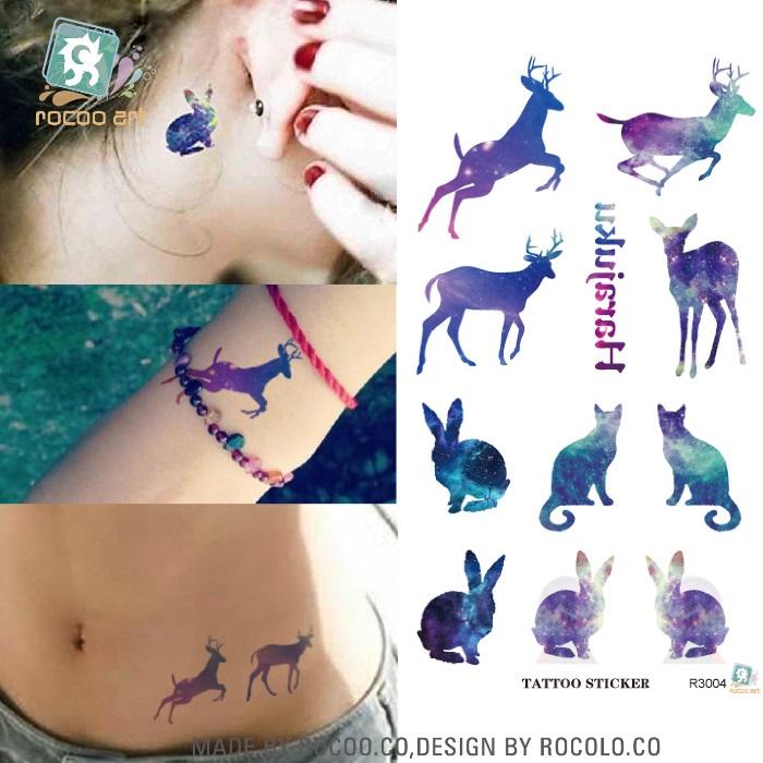 Running Rabbit Tattoo Tattoo Sticker Color Runs