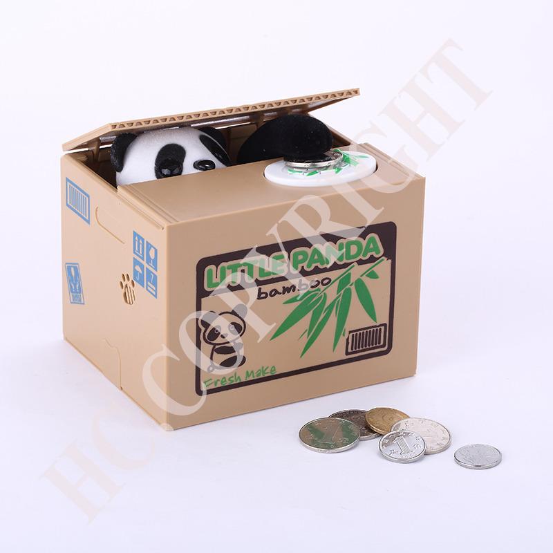 2015 New Fashion Arrival Cute Lovely Panda Stealing Coin Bank Itazura Money Save Box Money Automated Saving Box Best Gift(China (Mainland))
