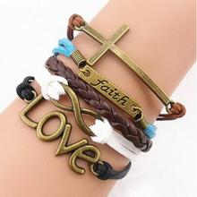 2015 Drop Shipping& Wholesale, Handmade Adjustable Cross Multilayer Bracelet Women Girl Faith Heart Love Wristband Promotions(China (Mainland))