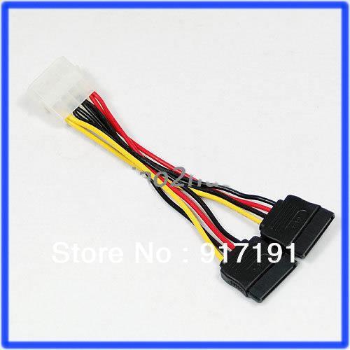 C18 6pcs/lot IDE to 2 Serial ATA SATA HDD Power Adapter Cable(China (Mainland))