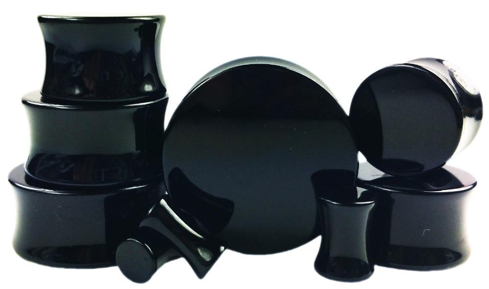 2PCS/Lot Black Ear Gauges Plugs and Flesh Tunnels,Saddle fit Ear Stretcher Expander (2mm-30mm)(China (Mainland))