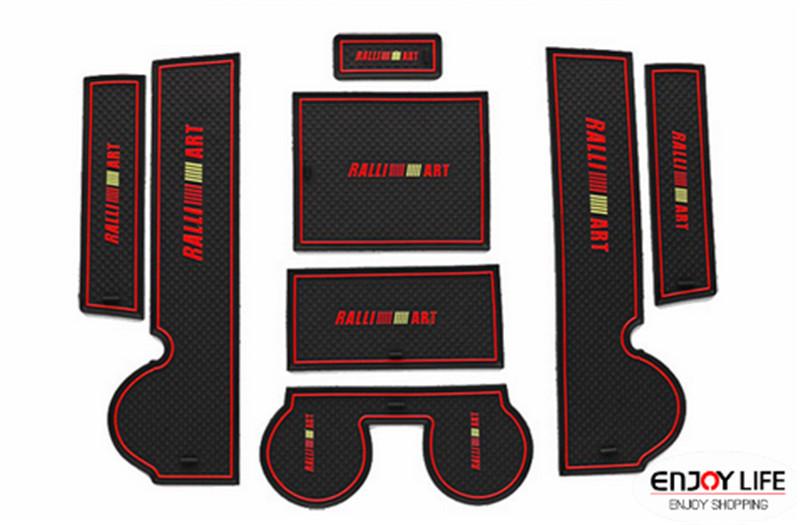 Non-Slip Rubber Interior Car Door Armrest Storage Panel Mat Cup Holder Slot Pad Cover Sticker For Mitsubishi Lancer EX 2008-2013(China (Mainland))