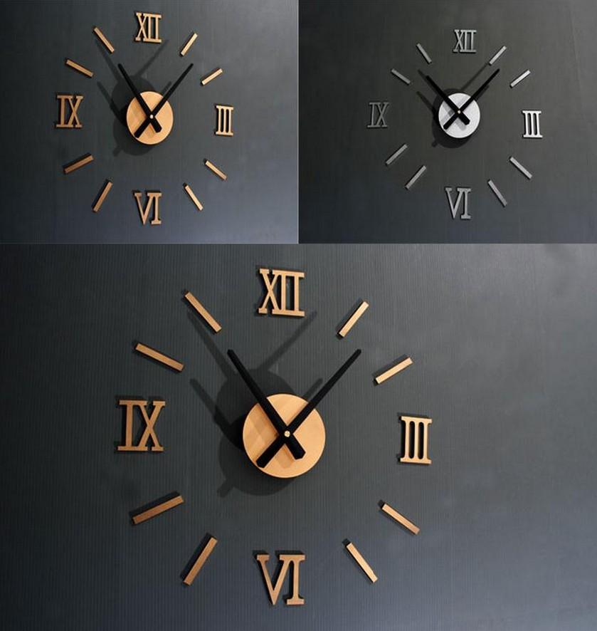 2015 Limited Freeshipping Quartz Plastic Clock On Wall Acrylic New 1pcs Home Room Decor 3d Antique Diy Roman Numerals Wall Clock(China (Mainland))
