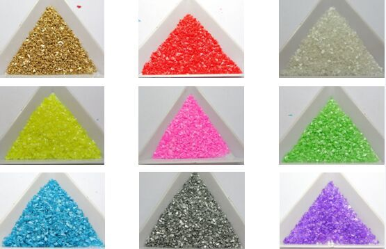45 Gram Glass Crushed Chips Irregular Shape Nail Art Tips + Storage Box(China (Mainland))