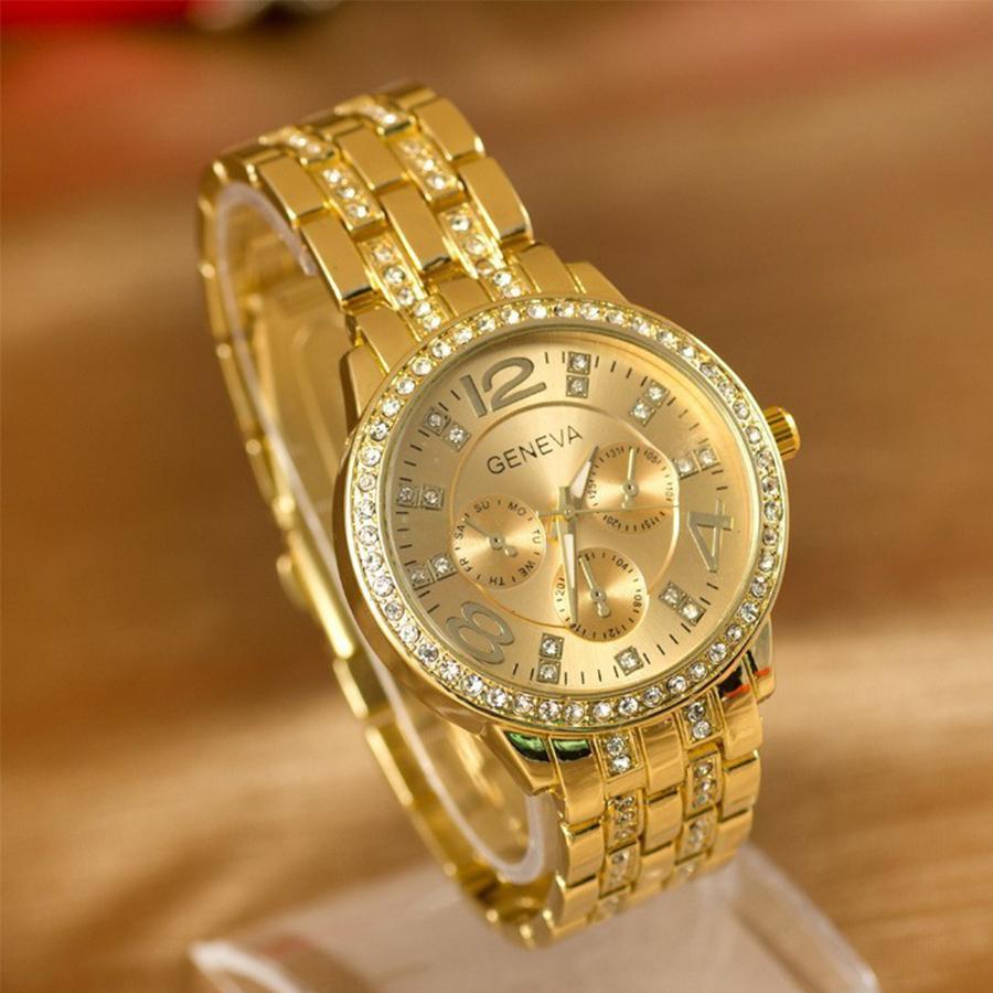 2015 Geneva Watch Full Steel watches women luxury brand Women Rhinestone watches Ladies Casual Analog Quartz wristwatches(China (Mainland))