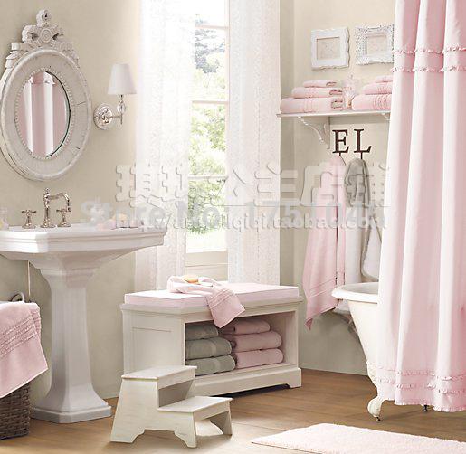 Cortinas De Baño Rosa:elegante cortina de la ducha puro fresco baño de color rosa cortinas