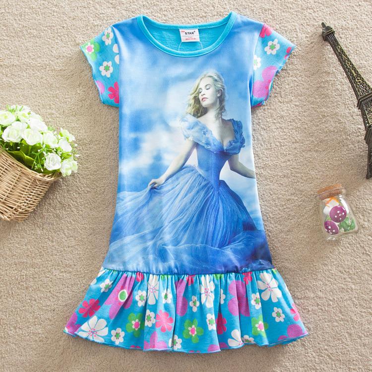 2015 Girls Cinderella Dress Brand Children Kids Cute Character Princess Dresses Kids Clothes vestidos de nina ACD083(China (Mainland))