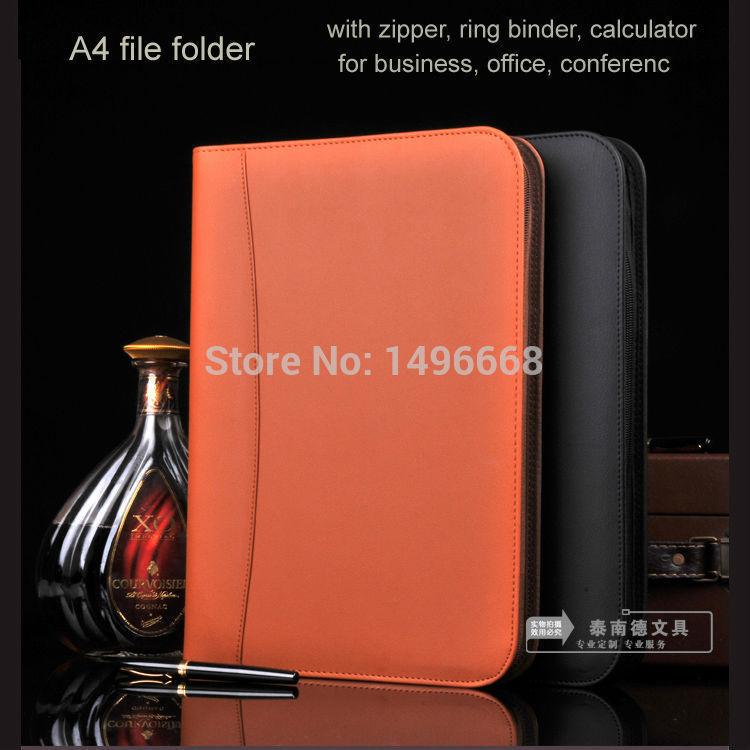 KST A4 PU leather zipper file document bag folder manager filing ring binder calculator pocket business office travel 554A(China (Mainland))