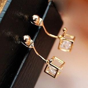 wedding jewelry Exquisite Square Crystal Zircon Pierced Stereoscopic Rhinestone eardrop beads anterior cingulate Stud Earrings(China (Mainland))
