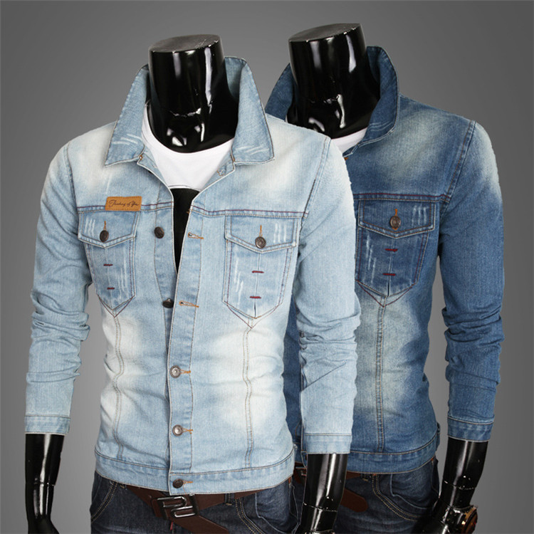 2015 New spring and summer Cotton jeans denim coat slim Outerwear & Coats jeans jacket fashion Mens clothing 27019(China (Mainland))