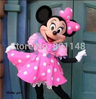 Fast Ship Cheap wedding Minnie Mascot Costume Pink Minnie Mouse Mascot Costume(China (Mainland))