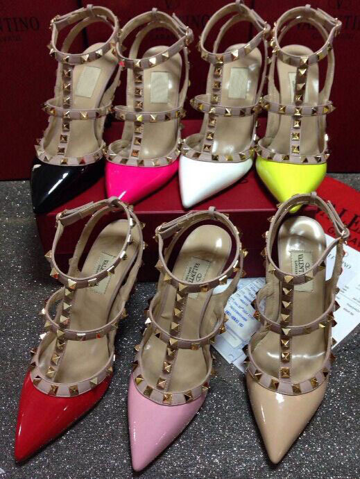 Original Logo 2015 Valentine Sandals Pointed Toe Female Patent Leather High Heel Shoes Women Studded Ankle Strap Sandals Shoes(China (Mainland))