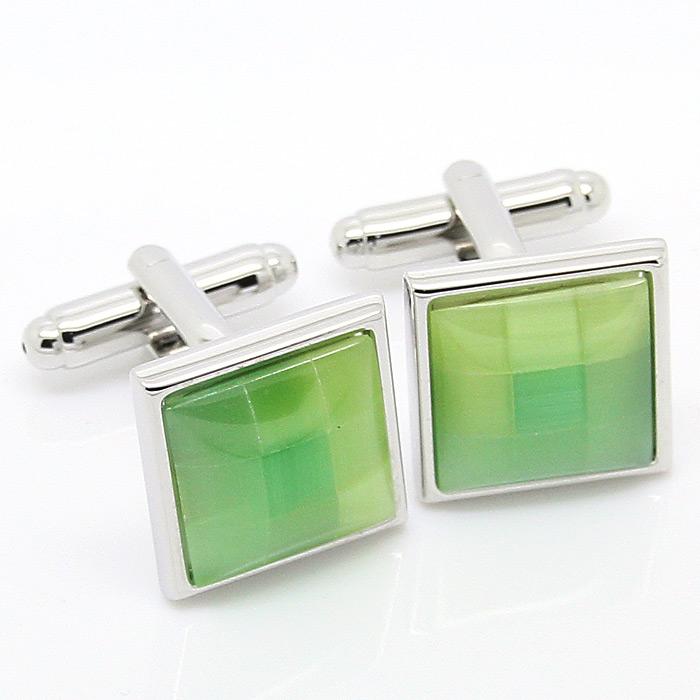 2015 Promotion! Square Green Onyx Cufflinks(China (Mainland))